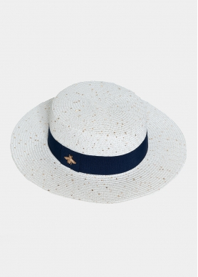 Ice white hat with sequins and blue strap