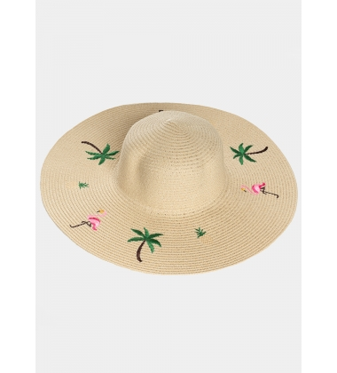 Ecru hat with tropical details