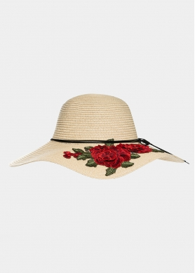Ecru hat with roses embroidery