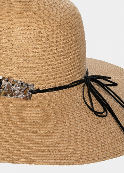 Brown hat with colourful stones strap