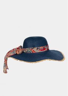 Blue hat with paisley foulard