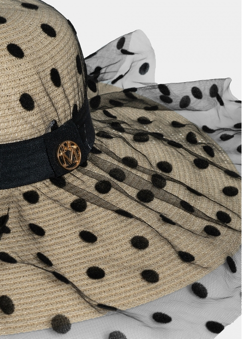 Ecru hat with dotted veil