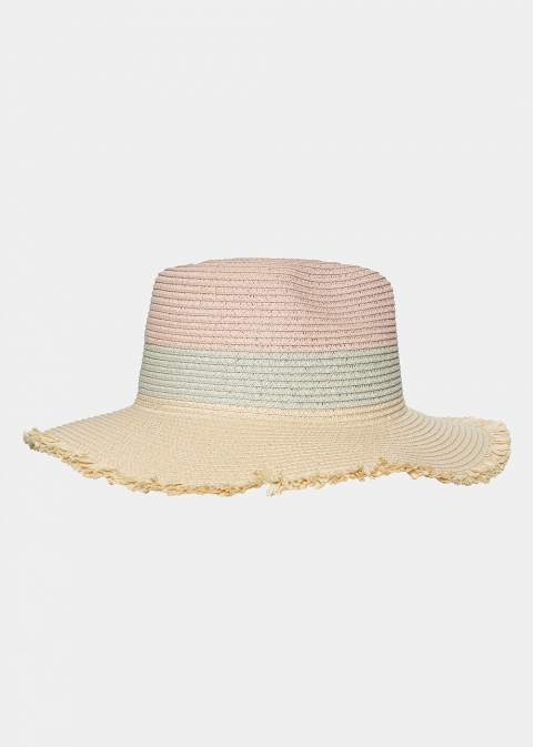 Beige, turquoise and pink hat