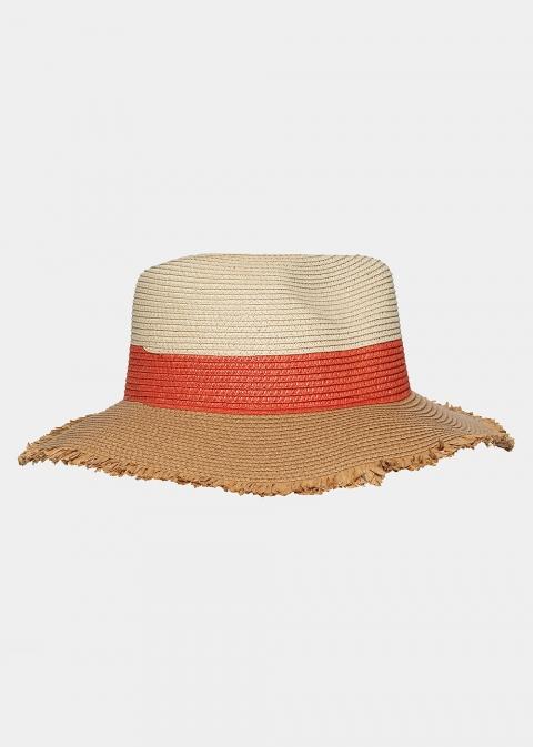 Brown, orange and beige hat