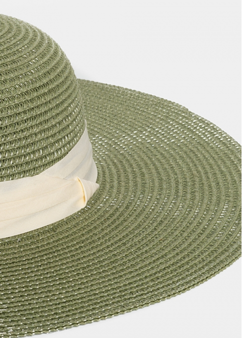 Olive Straw Hat with Cream Ribbon
