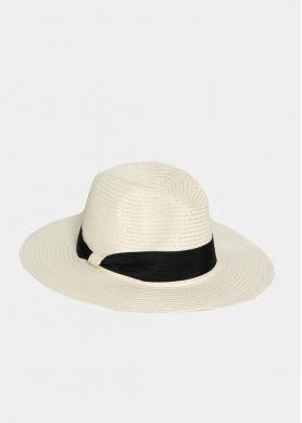 Beige Straw Panama with Black Strap