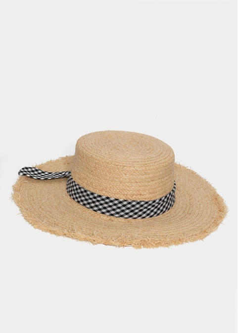 Beige Straw Hat with Plaid Bow