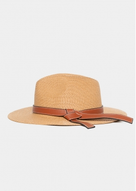 Brown Straw Panama with Camel Leather Belt