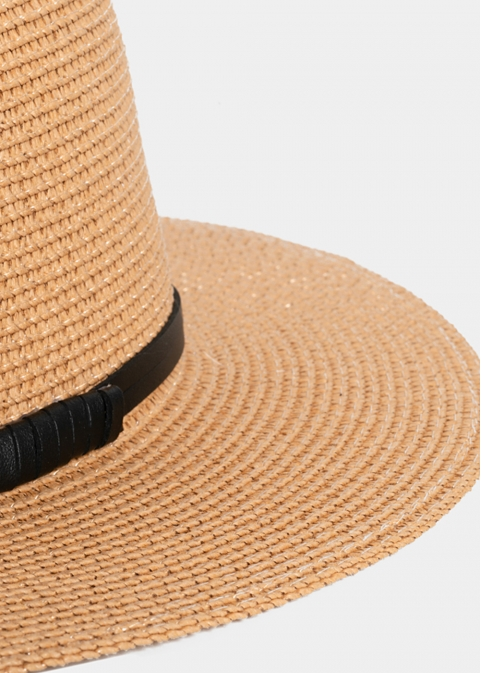 Brown Straw Panama with Black Strap