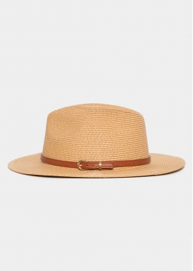 Brown Straw Panama with Brown Leather Belt